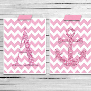 Custom art print Princess pink Girls nautical nursery Chevron print Anchor art Glitter style Modern Baby Girl Nautical Wall decor Teen girl