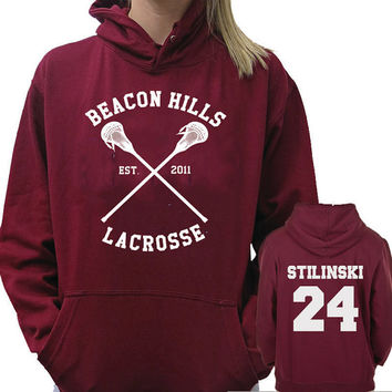 Beacon Hills Hoodie Lacrosse Hoody with Stilinski 24 on back.