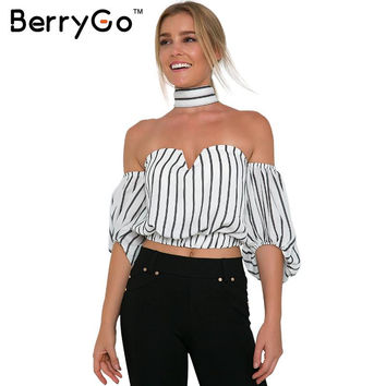 BerryGo Elegant black striped chiffon blouse shirt Bow summer style girls halter tops Sexy off shoulder crop top  white blusas