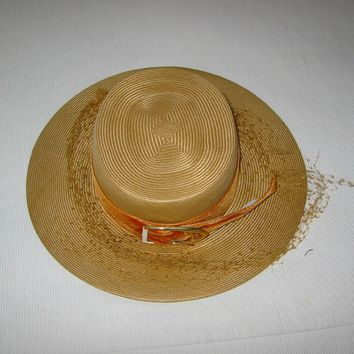 Leslie James Straw Hat Mid Century Modern Couture Accessory