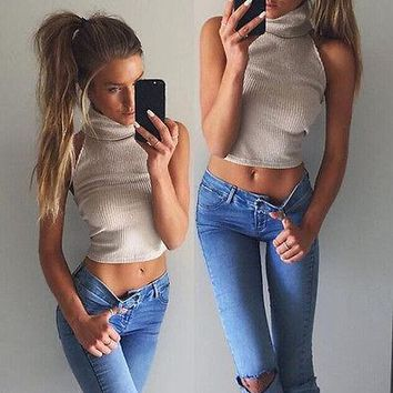Turtleneck cropped top