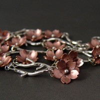 Cherry Blossom Branch Bracelet by Hapagirls on Etsy