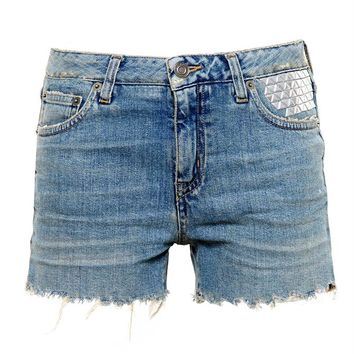 Studded Denim Shorts - SAINT LAURENT