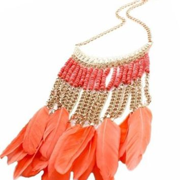 Coral Feather Necklace