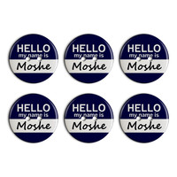 Moshe Hello My Name Is Plastic Resin Button Set of 6