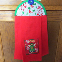 Christmas Angle Kitchen Towel, Hanging Kitchen Towel, Tie Towel, Decorative Towel, Hanging Dish Towel
