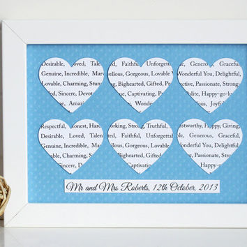 Personalised Heart Frame Gift / Custom Hearts Song Lyric Wall Art / New Baby, Baptism, Wedding, Anniversary