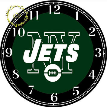 """Jets Sports Team Art - -DIY Digital Collage - 12.5"""" DIA for 12"""" Clock Face Art - Crafts Projects"""