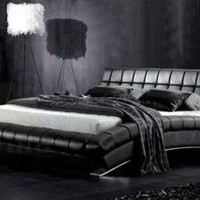 Modern Bed With Leather Backboard Headrest - OpulentItems.com