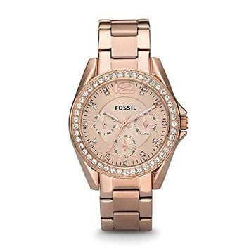 Fossil Women's Riley Rose Gold-Tone Stainless Steel Watch with Link Bracelet