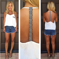 White Geometric Print Strap and Pocket Backless Sleeveless Top