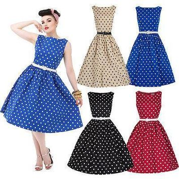 Fashion Women's Retro Boat 1950's Hepburn Full  Rockabilly Swing  Dresses