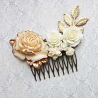 Gold Ivory Cream Bridal Hair Comb Vintage Style Romantic Country Chic Wedding Hair Accessory Bridesmaid Gift Floral Hair Piece Leaf Branch