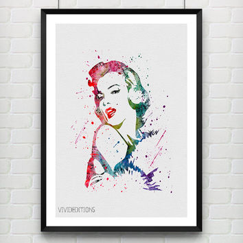Marilyn Monroe Poster, Watercolor Print, Watercolor Art, Gift Idea, Wall Art, Home Decor, Not Framed, Buy 2 Get 1 Free! [No. 10]
