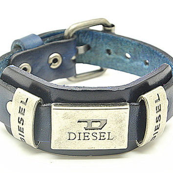 Real Blue Leather DIESEL Bracelet Women's Leather Bangle Bracelet, Men's Leather Cuff Bracelet, Unisex Leather Bracelet  SZ0040