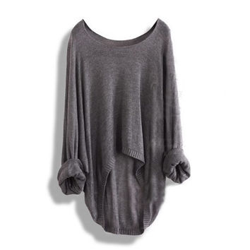 Grey Batwing Casual Loose Asymmetric Long Sleeve Sweater = 1946485124