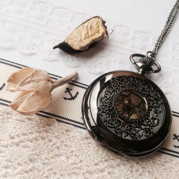 VINTAGE steampunk pocket watch necklace - black