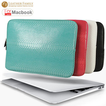 Ultrabook snake skin Sleeve bag For Macbook Air 13 Retina Pro 12 13.3 14 15.4 inch Laptop Inner Case Notebook with zipper bags
