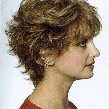 Monofilament Top, Short Wavy Hair Wig Wigs-Blond/Brown