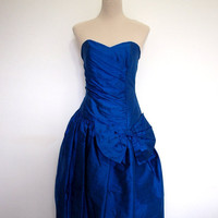 Beautiful blue silk dress. VINTAGE. 1980s party dress / cocktail dress / prom dress / Christmas party. Gorgeous colour, slubbed silk.