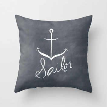 Dark Blue Sailor Anchor Ocean Typography Throw Pillow Cover Decorative Throw Pillow Minimalist Decor Text Pillow Home Decor