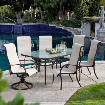 72 x 42-inch Rectangle Outdoor Patio Dining Table with Glass Top & Umbrella Hole