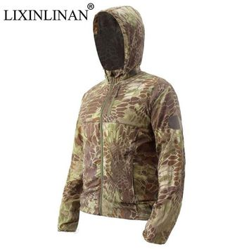 LIXINLINAN Men's Military Camouflage  Army Tactical Clothing Multicam Quick drying hunting Climbing Windproof waterproof Jacket