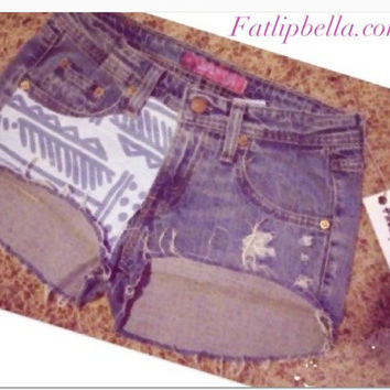 Low waist denim Tribal print cut off shorts by FatLipBella on Etsy