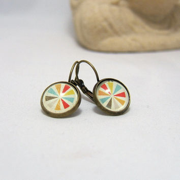 GEOMETRIC Earrings ~ Colorful GEOMETRIC Glass Dome Earrings ~ 12 mm ~ Bronze ~ Leverback ~ Glass Dome ~ Picture  ~ Glass Cabochon