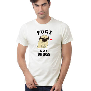 Pugs Not Drugs T Shirt, Women and Men T Shirt , White Shirt, American T Shirt , Funny Shirt