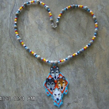Wolf 4 Necklace Hand Made Seed Beaded Native Style