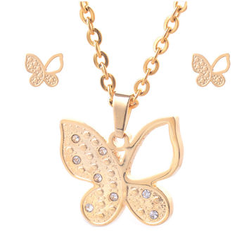 316L Stainless Steel Jewelry Set 18K Yellow Gold Plated Women Butterfly Pendant Necklace and One Pair Stud Earrings HY033