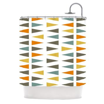 """Pellerina Design """"Stacked Geo"""" White Triangles Shower Curtain - Outlet Item"""
