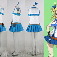 Popular Blue and White Fairy Tail Lucy Heartfilia Cosplay Costume