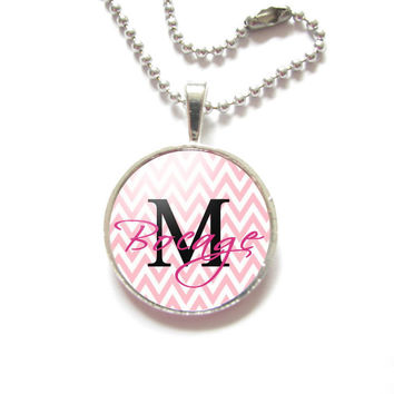 Pink Chevron Name Necklace