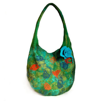 Felted bag  felt bag felt  handbag felted brooch wool floral green flower flowers boho OOAK