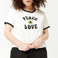 Plus Size Peace & Love Ringer Tee
