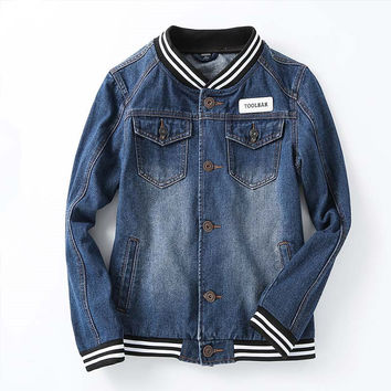 Spring Autumn Fashion Mens Denim Jackets Baseball Jacket Slim Fit Casual With Pockets Coats For Men