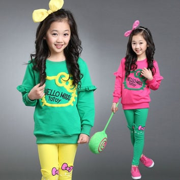 Fashion junior girls clothing sets candy color girl tracksuit cartoon hello kitty girls clothes sets baby clothing for girls