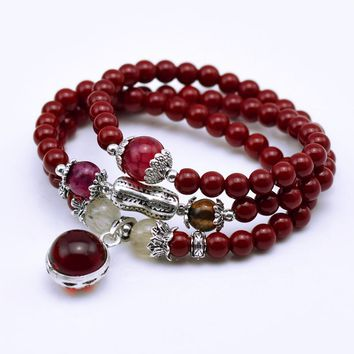 Red Stone Tivetan Prayer Beads