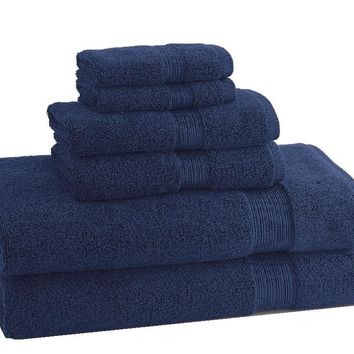 CLASSIC EGYPTIAN TOWELS| Set of 6 | Navy