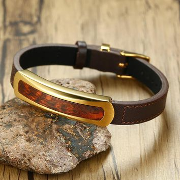 Rare Exotic Snakewood Tag Leather Bracelet in Brown for Men Letterwood Male Gents Leopardwood Wood Jewelry Adjustable 7-8.8""