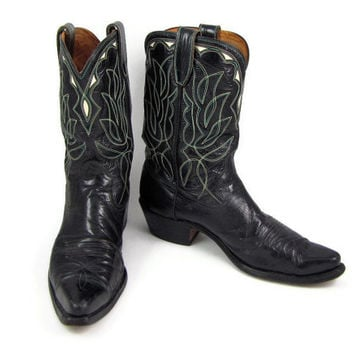 Round Up - Vintage Acme Pull On Cowboy Boots, Black Inlay with Turquoise & Ivory Stitching, Men's Size 10.5, Women's 12.5