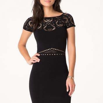 bebe Womens Lace Yoke Dress