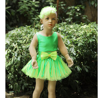 in neon green tulle fabric green jersey For birthday party costum for girls