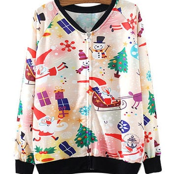 Christmas Cartoons Print Zipper Up Sweatshirt