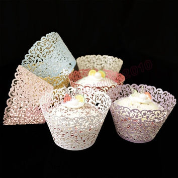 12PCS/Pack Wedding Birthday Party Hollow Filigree Vine Decor Wrappers Cupcake Cases = 1946281988