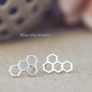 Beehive Earrings - Gold and Silver