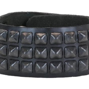 3-Row Mini Black Pyramid Stud Black Leather Bracelet Wristband