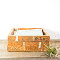 Pair of Vintage Wood Boxes or Paper Trays // Desk Organizers
